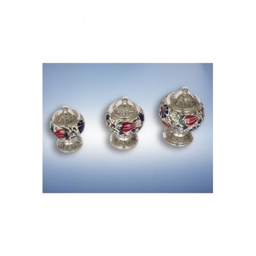 Gümüş Kaplama 3'lü El Dekoru Çini Lokumluk